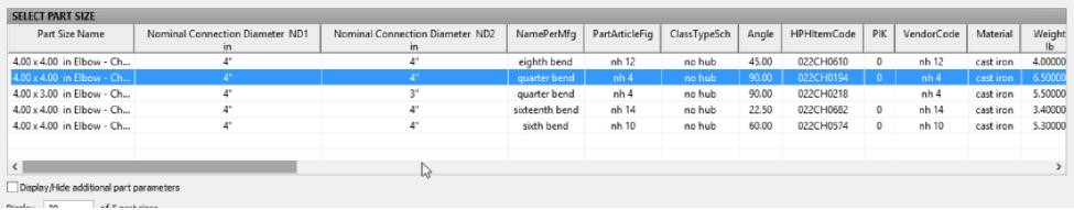 PipeFittingAdd Dialog Column Reorganization